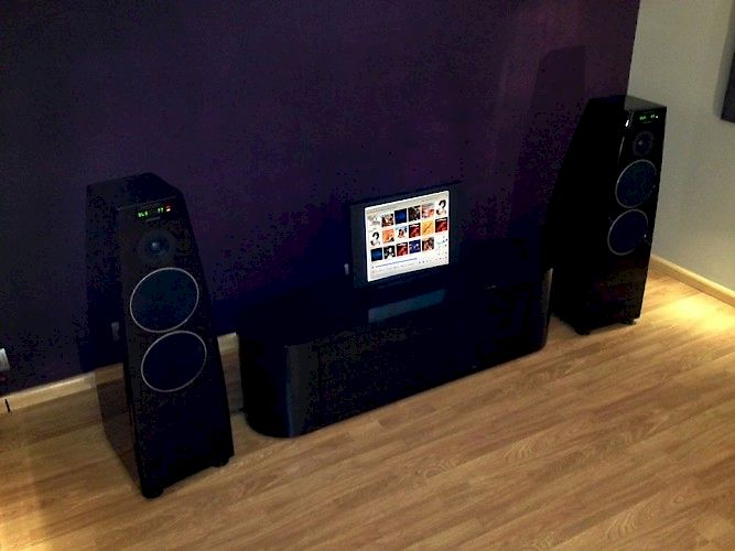 Image of Meridian Audio Meridian DSP5200SE speakers (pair) including Meridian server system with custom matching cabinet For sale at iDreamAV